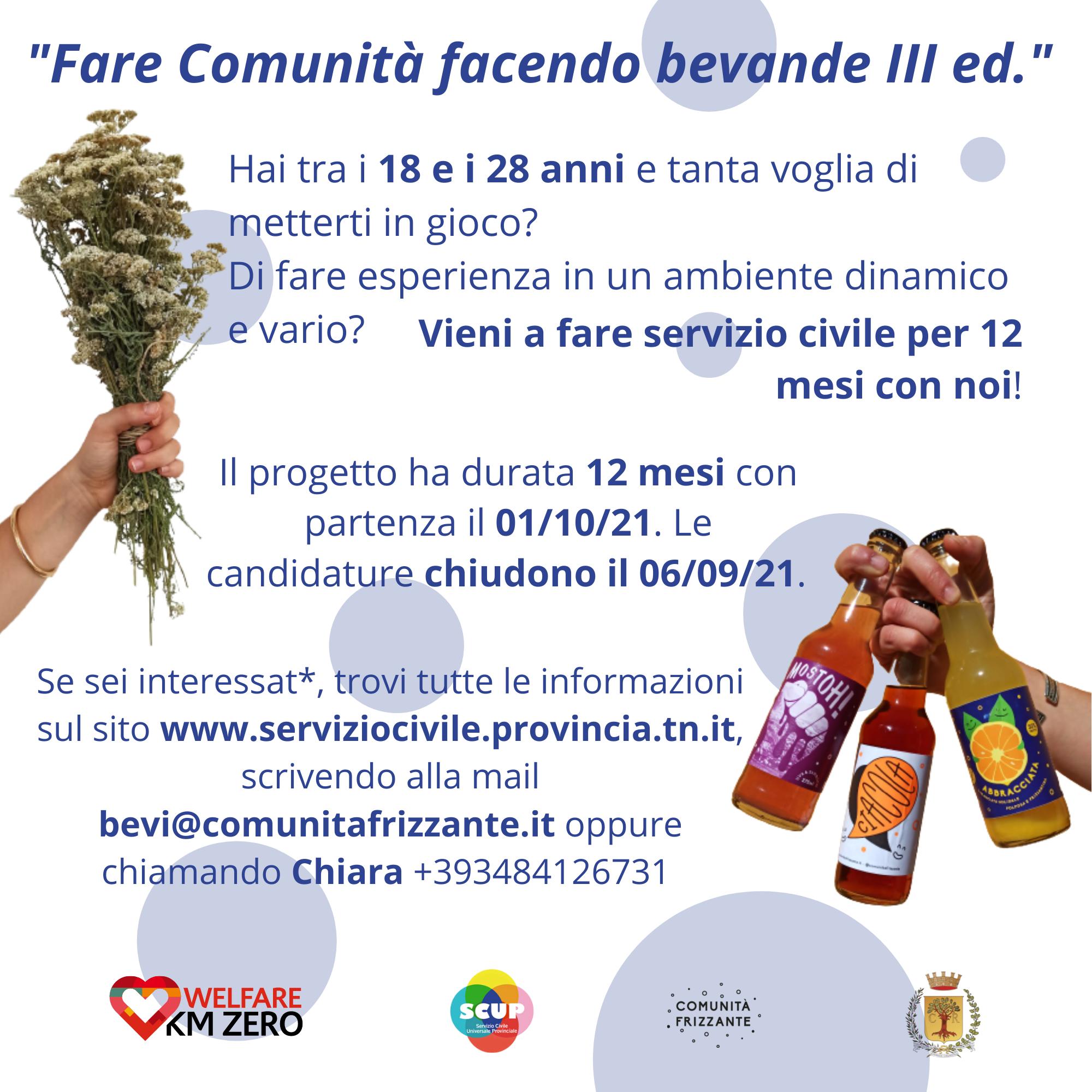 Servizio civile (SCUP) con Comunità Frizzante!